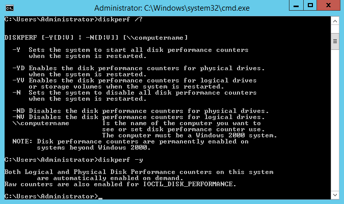 Configure Disk Performance Counters using diskperf.