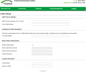 PowerChute Business Edition Agent E-Mail Settings