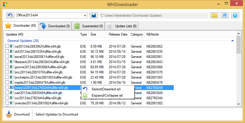 WHDownloader Office 2013 Post SP1